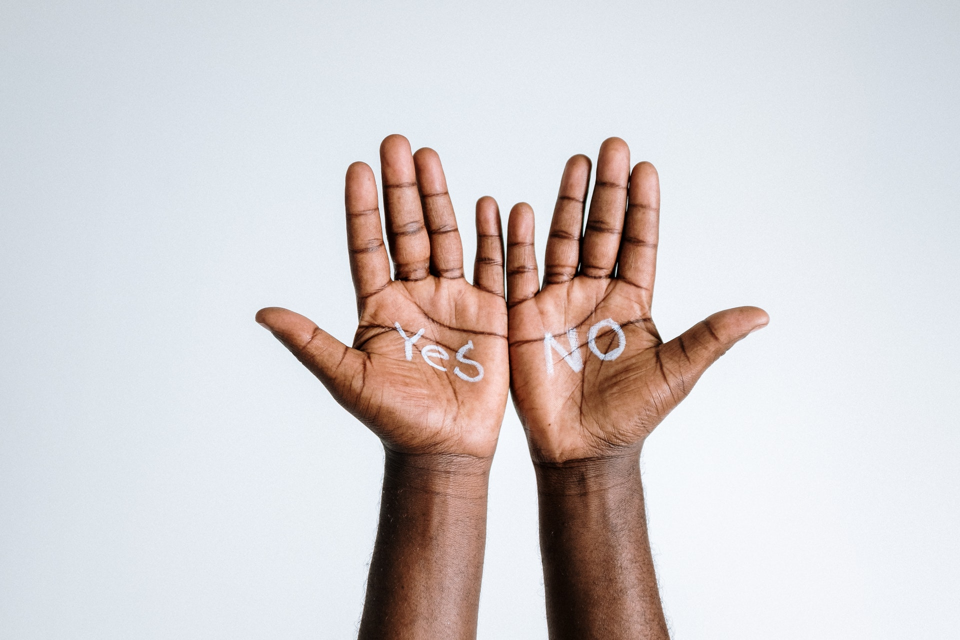 Hands saying yes and no about mental capacity