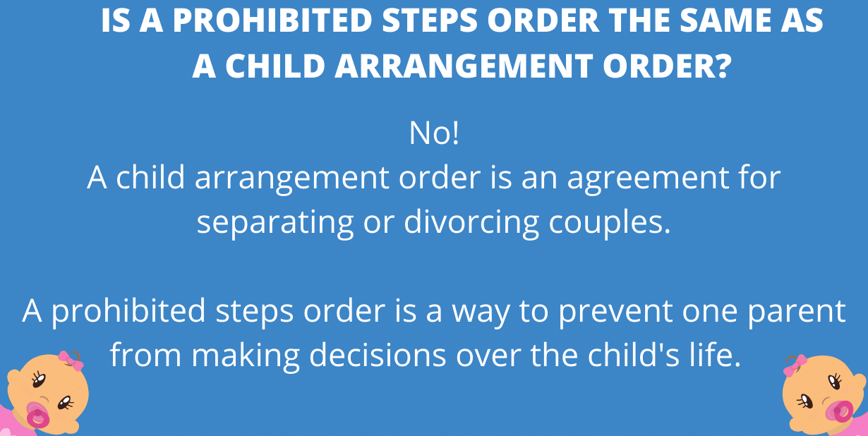 Is a prohibited steps order the same as a child arrangement order